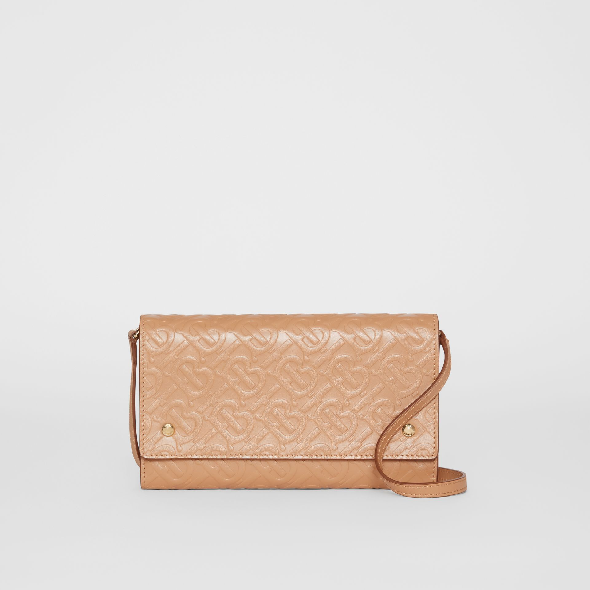 Monogram Leather Wallet with Detachable Strap in Light Camel - Women | Burberry Singapore - gallery image 0
