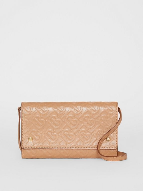 Monogram Leather Wallet with Detachable Strap in Light Camel