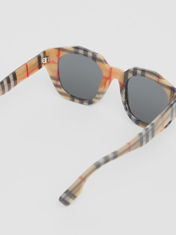 Vintage Check Geometric Frame Sunglasses in Antique Yellow - Women | Burberry United Kingdom - cell image 3