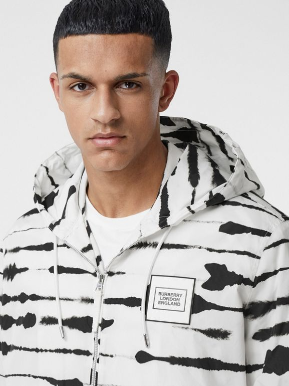 Logo Appliqué Watercolour Print Hooded Jacket in Monochrome - Men | Burberry - cell image 1