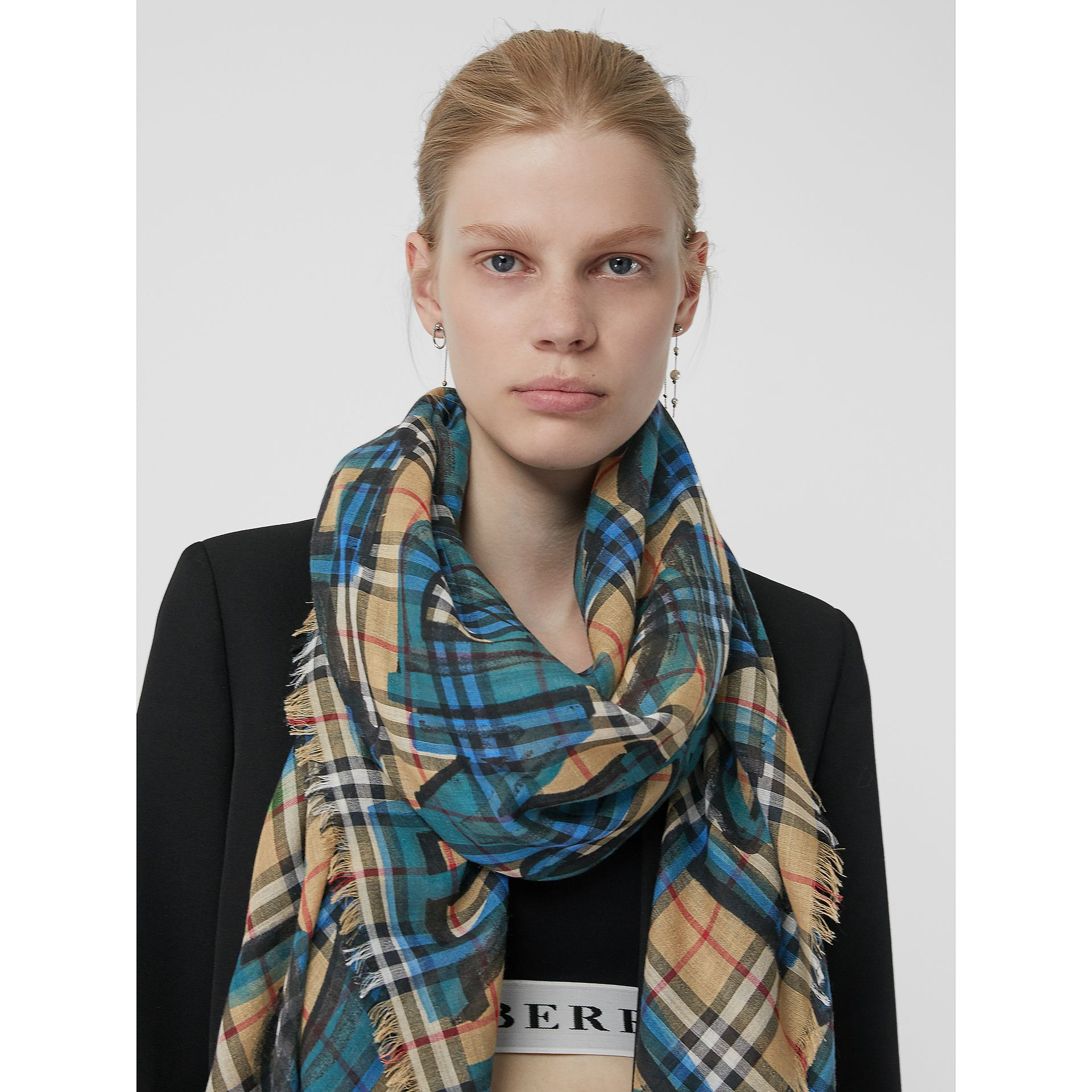 Graffiti Print Check Wool Silk Large Square Scarf in Brilliant Blue | Burberry - gallery image 5