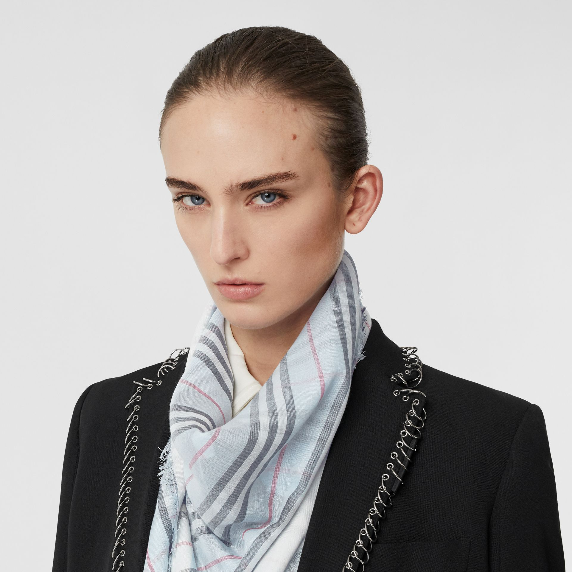 Monogram Icon Stripe Wool Silk Large Square Scarf in Pale Blue | Burberry - gallery image 2