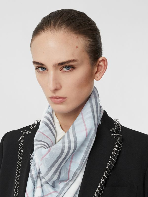 Monogram Icon Stripe Wool Silk Large Square Scarf in Pale Blue | Burberry Hong Kong - cell image 2