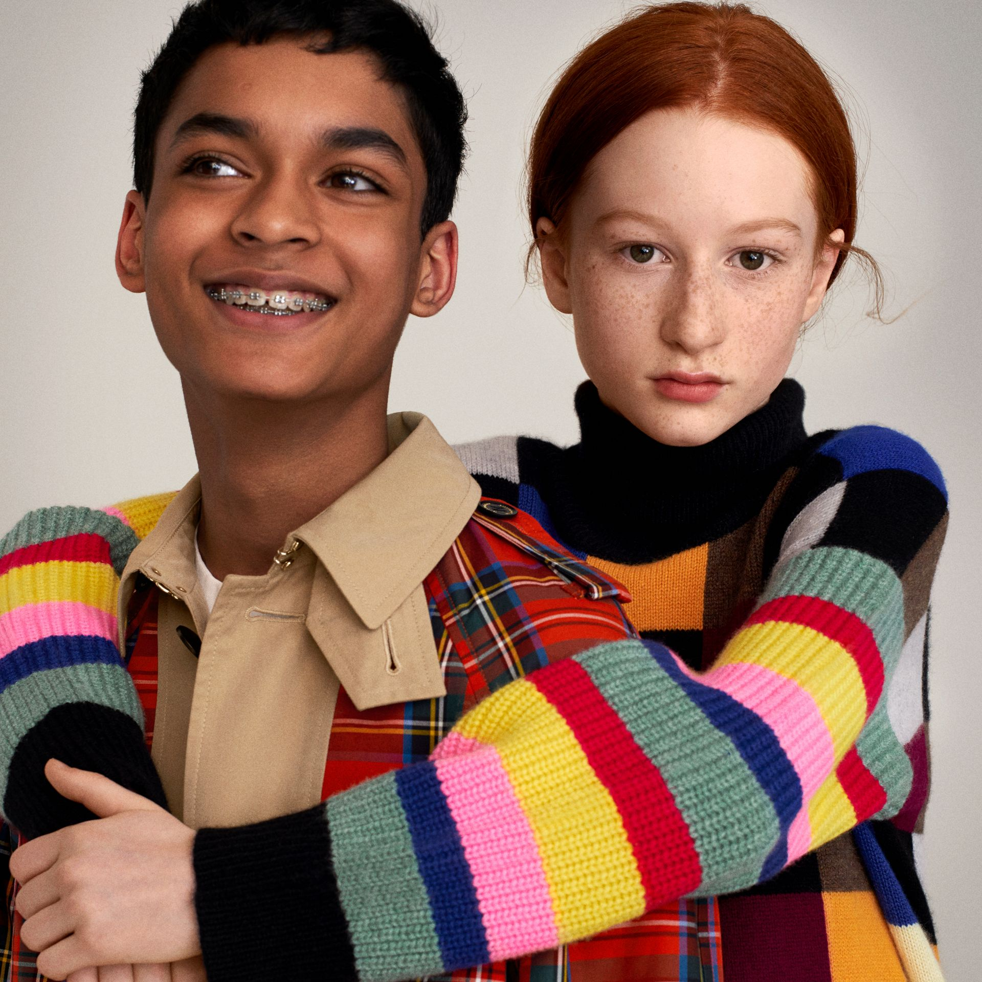 Patchwork Cashmere Roll-neck Sweater in Multicolour | Burberry Singapore - gallery image 1