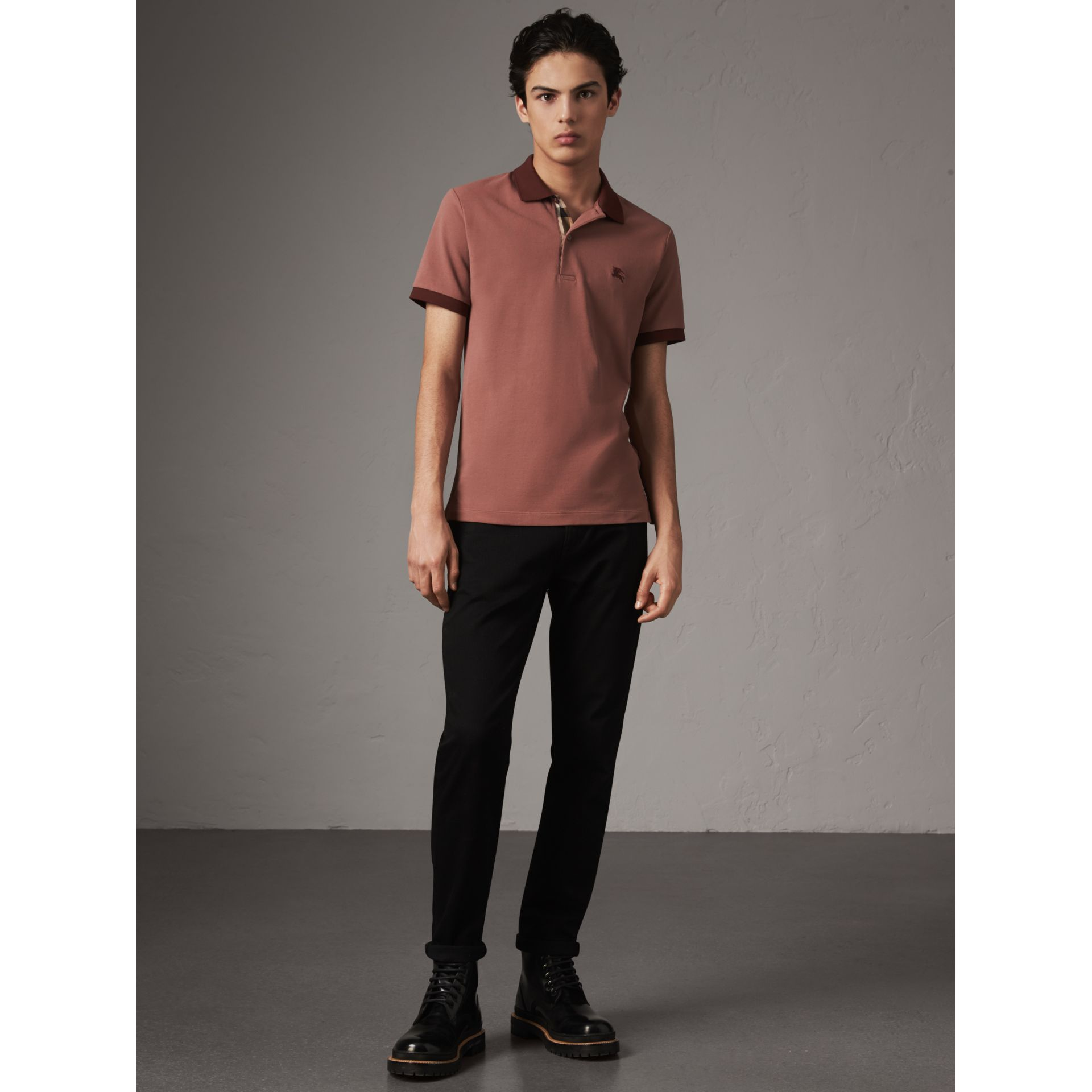 Cotton Piqué Polo Shirt in Rosewood - Men | Burberry - gallery image 4