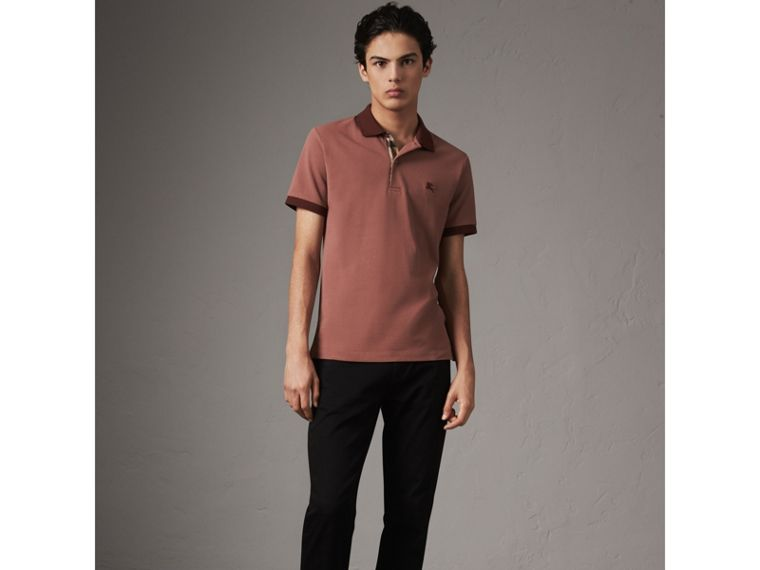Cotton Piqué Polo Shirt in Rosewood - Men | Burberry - cell image 4