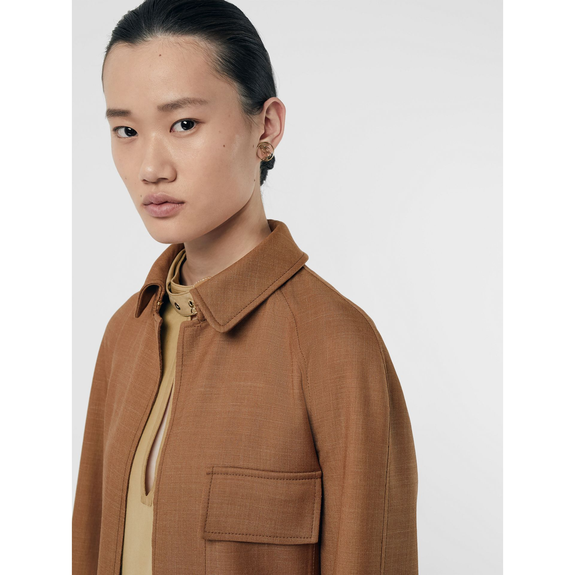 Bonded Wool Silk Mohair Linen Car Coat in Bronze - Women | Burberry Hong Kong S.A.R - gallery image 1