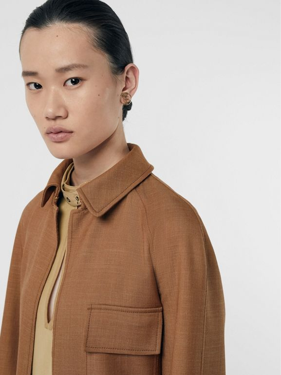 Bonded Wool Silk Mohair Linen Car Coat in Bronze - Women | Burberry Singapore - cell image 1
