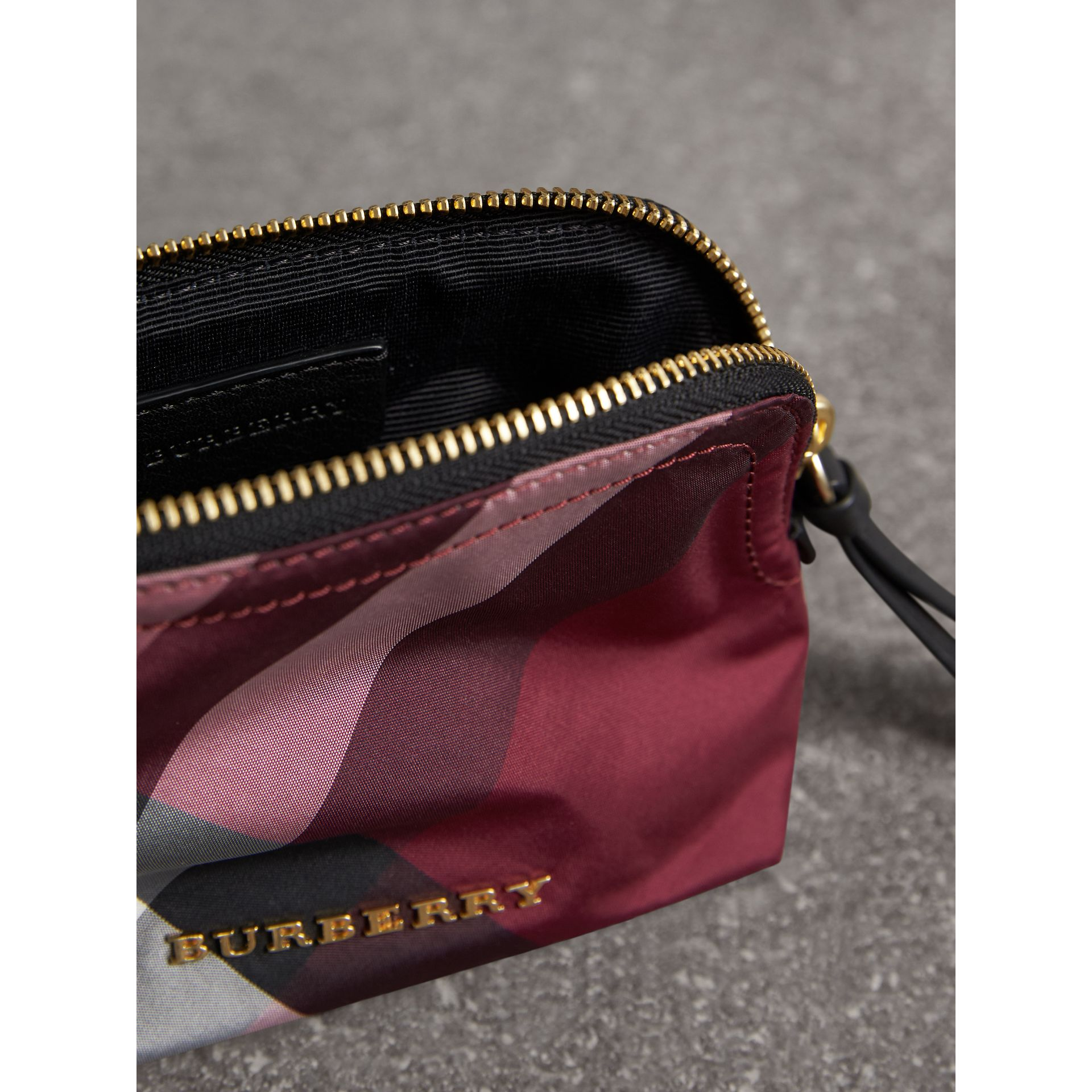 Small Zip-top Check Pouch in Plum - Women | Burberry Canada - gallery image 4