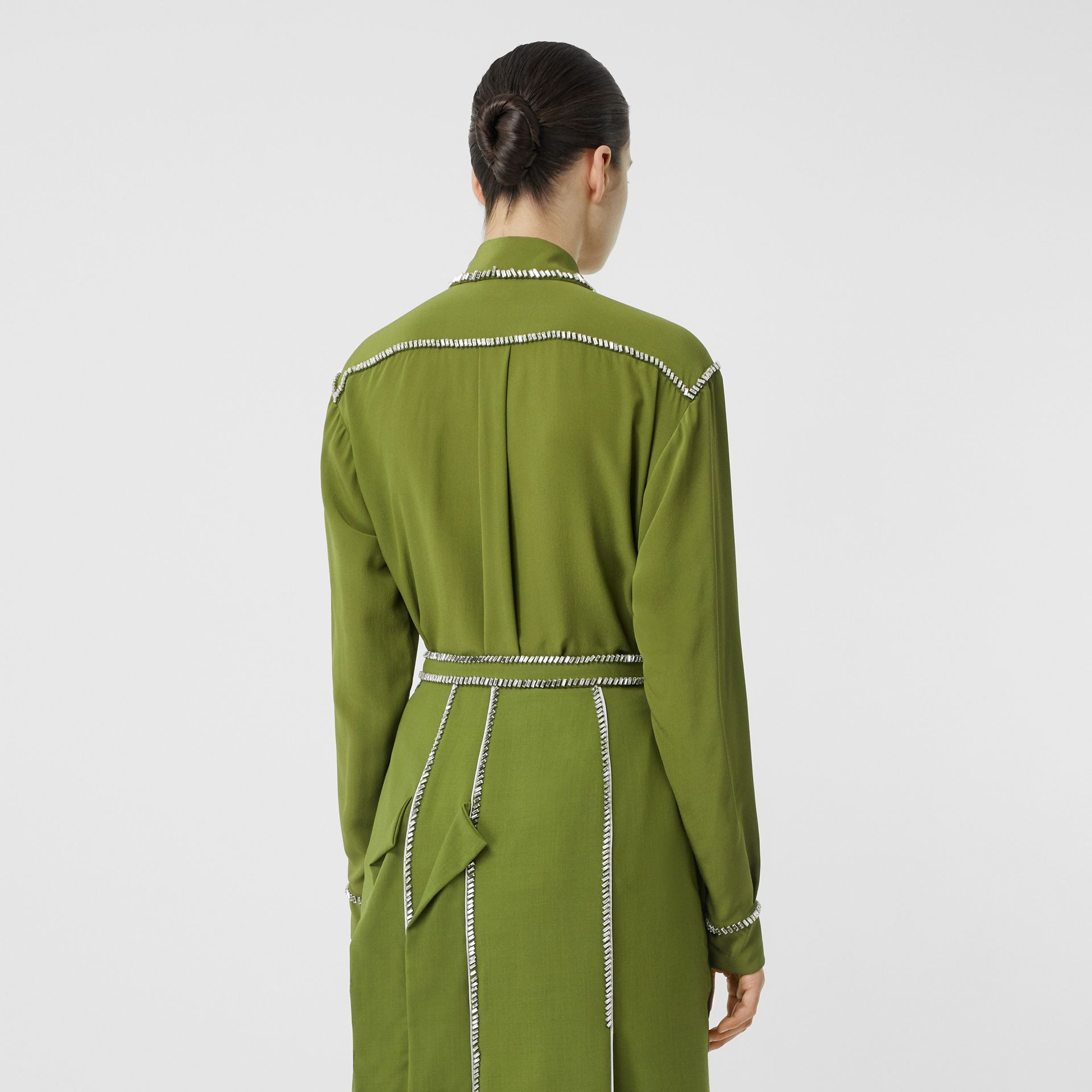 Embellished Silk Oversized Shirt in Cedar Green - Women | Burberry - gallery image 2