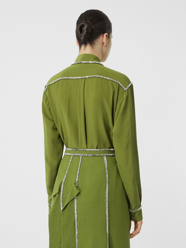 Embellished Silk Oversized Shirt in Cedar Green - Women | Burberry - cell image 2