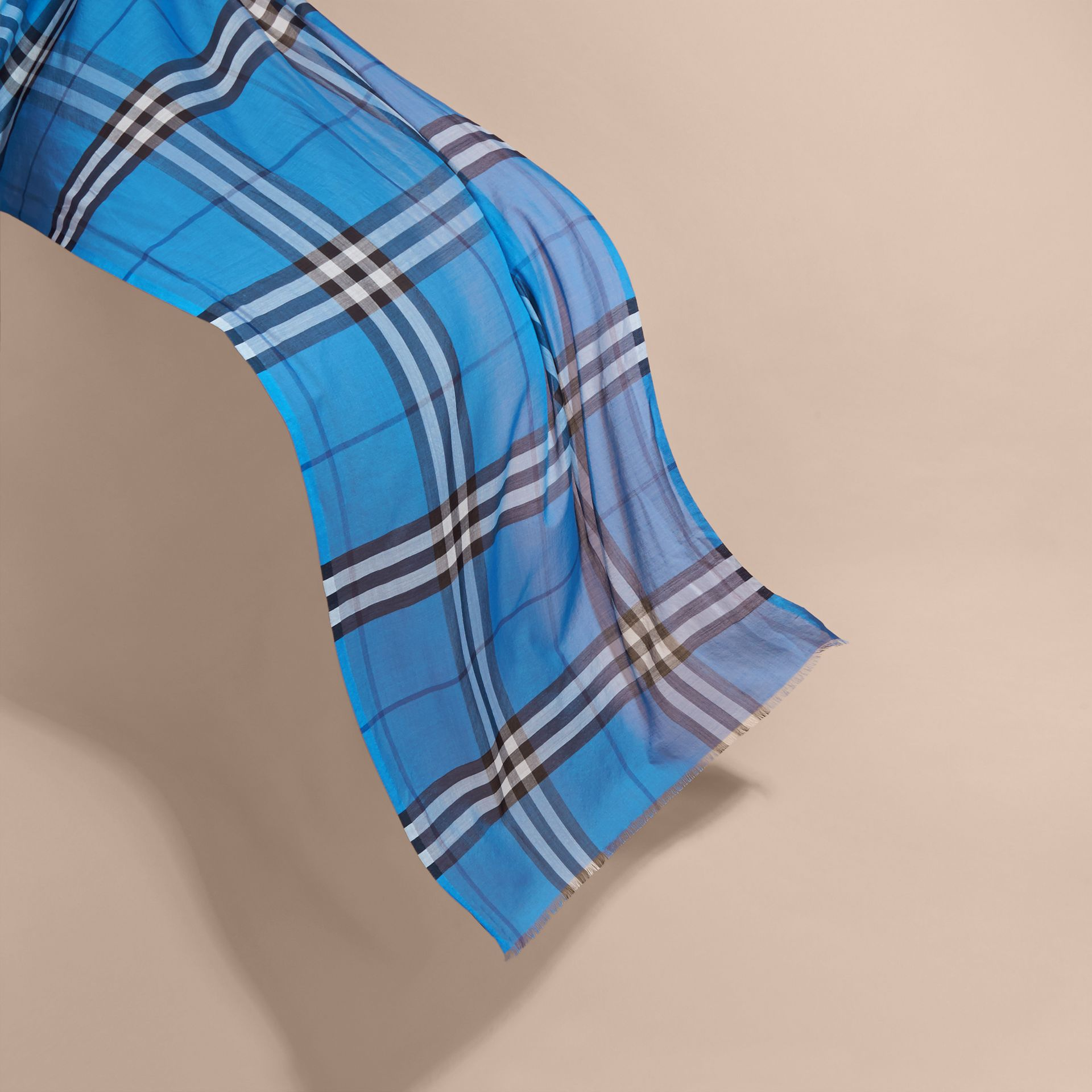 Lightweight Check Wool and Silk Scarf in Cornflower Blue - gallery image 4