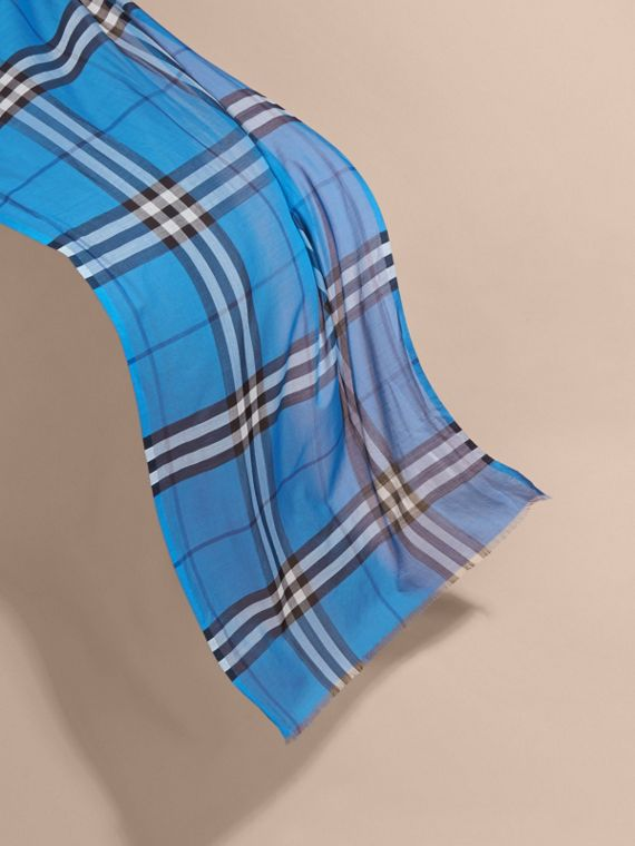 Lightweight Check Wool and Silk Scarf in Cornflower Blue - cell image 3