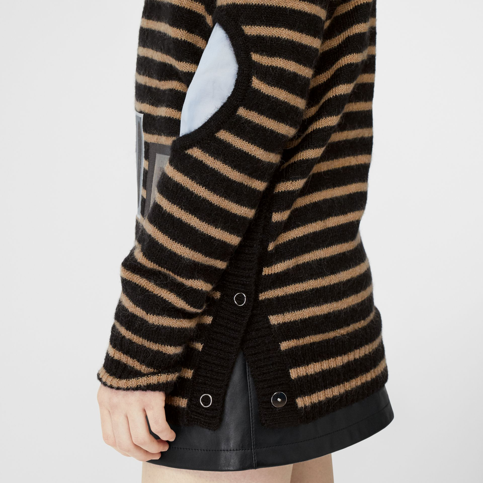 Montage Print Striped Mohair Wool Blend Sweater in Black/honey - Women | Burberry - gallery image 1