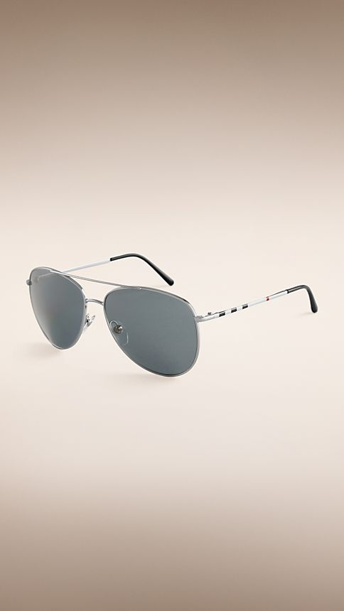 Silver Check Arm Aviator Sunglasses - Image 1