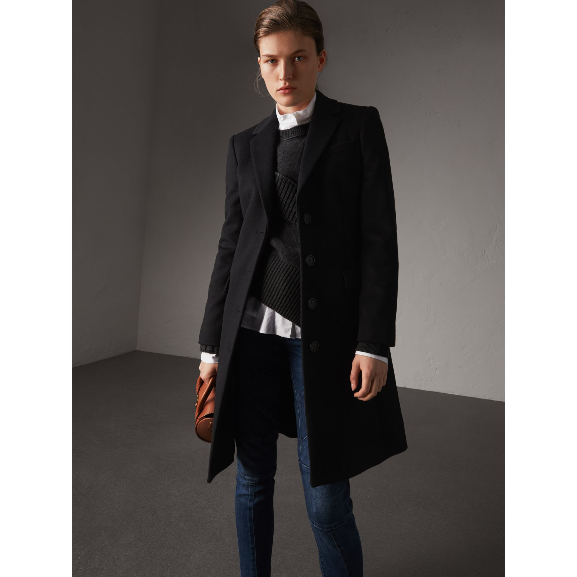 Wool Cashmere Tailored Coat in Black - Women | Burberry Australia - gallery image 1