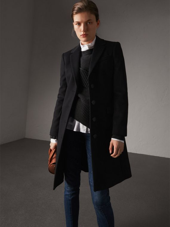 Wool Cashmere Tailored Coat in Black - Women | Burberry Canada