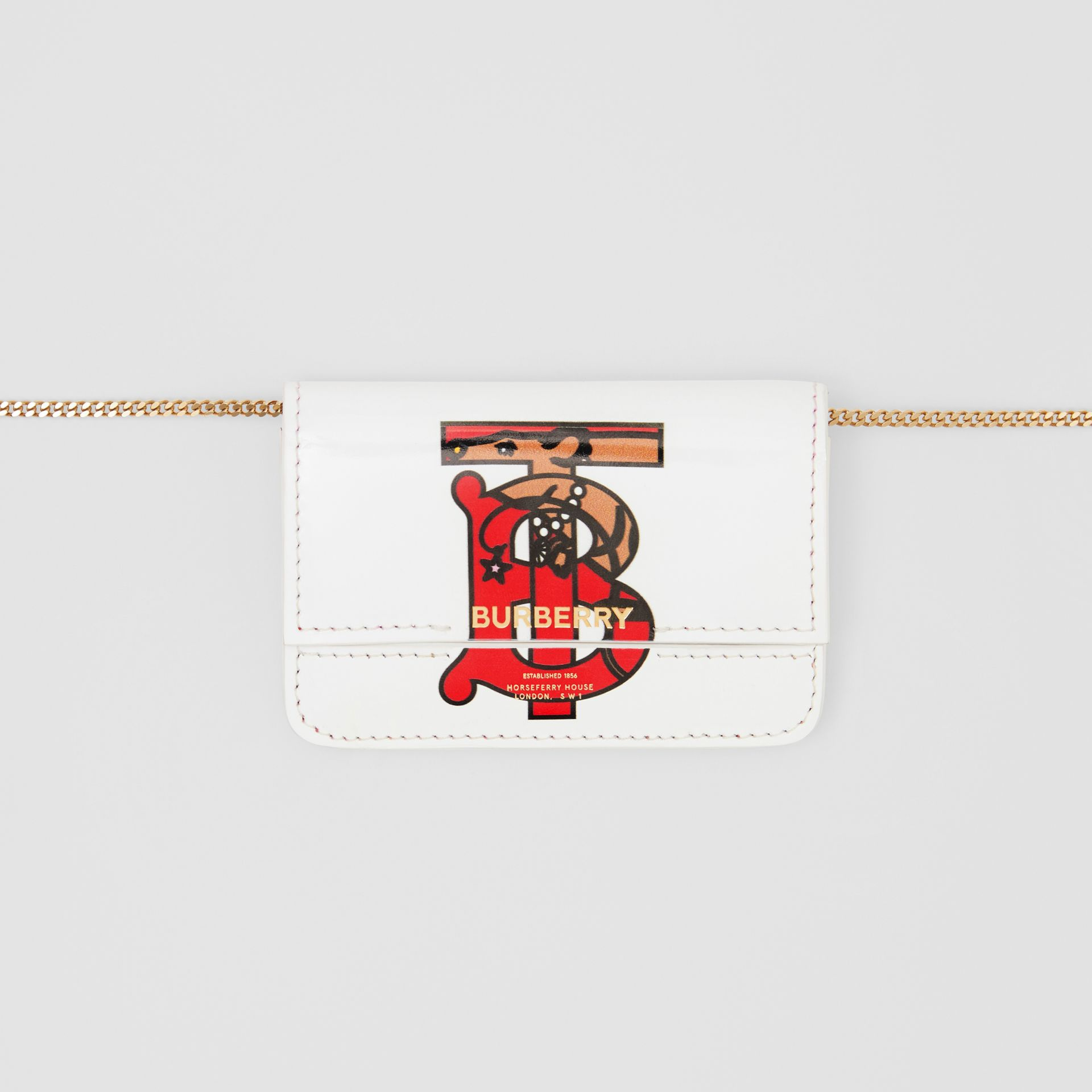 Porte-cartes en cuir Monogram avec sangle en chaîne (Blanc) | Burberry - photo de la galerie 10