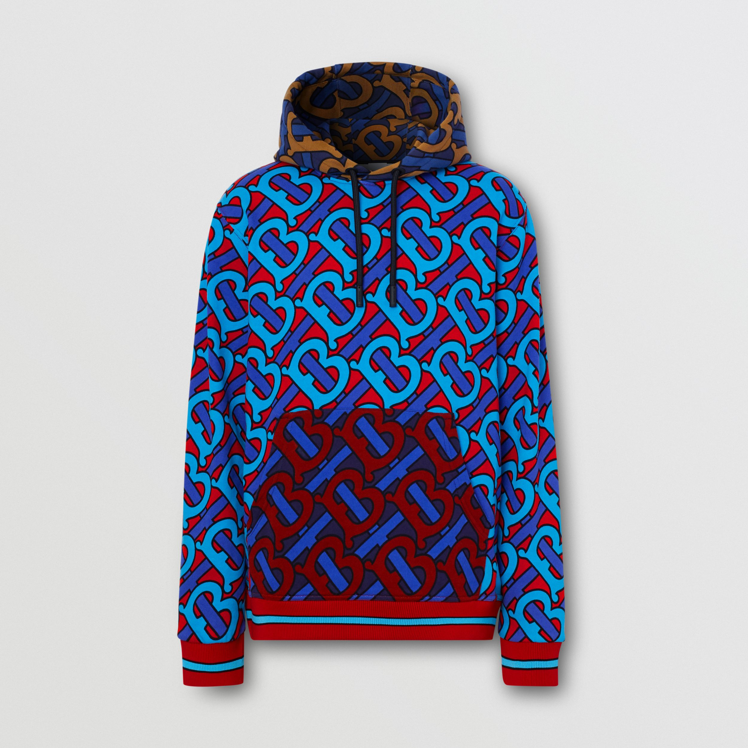 Monogram Print Cotton Hoodie in Bright Cherry Red - Men | Burberry - 4