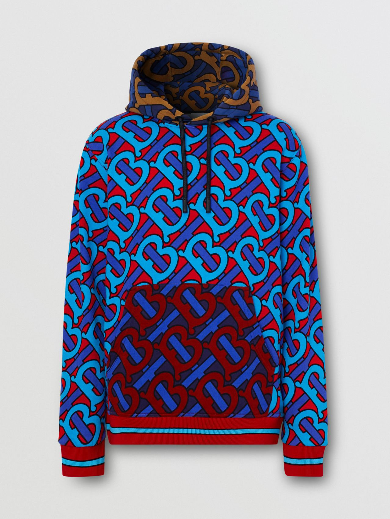 Monogram Print Cotton Hoodie in Bright Cherry Red