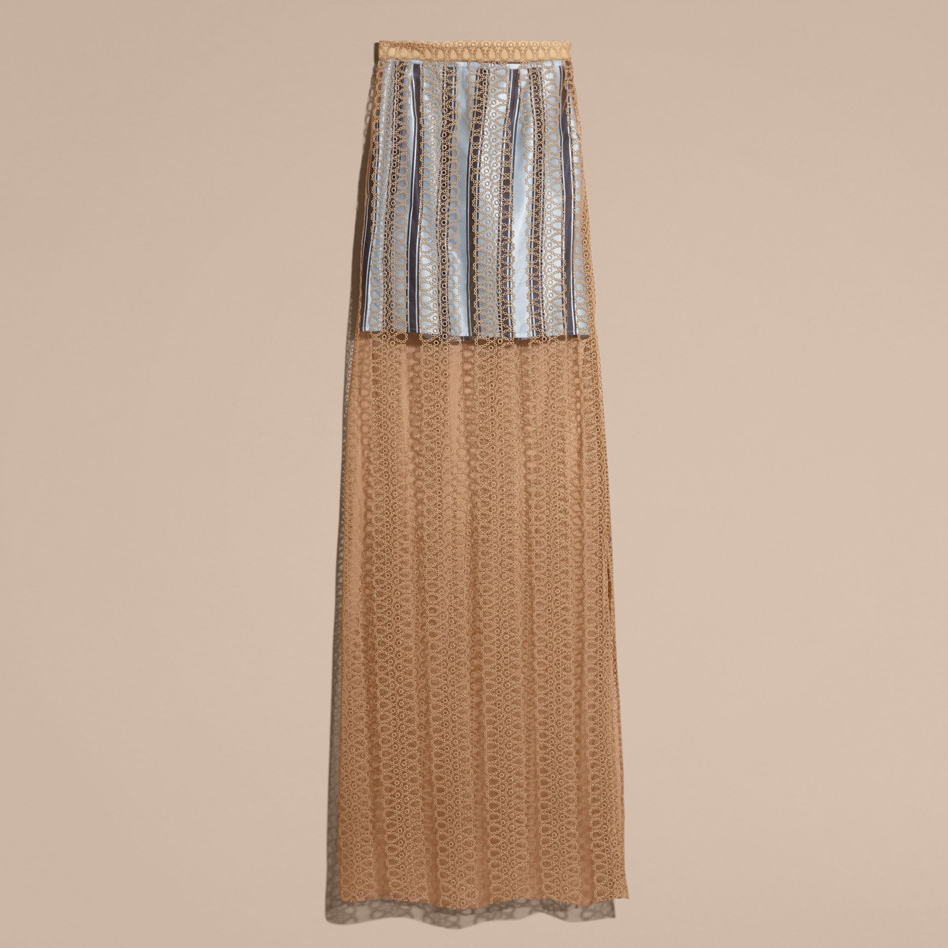 Braided Tulle Column Skirt with Striped Lining in Bright Toffee - gallery image 4