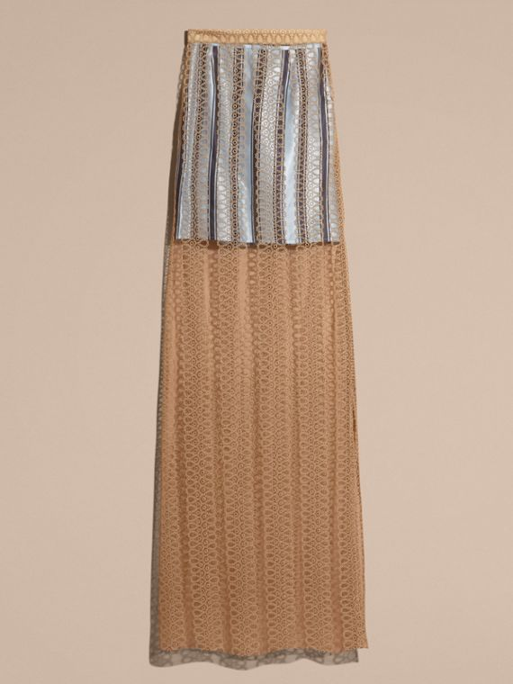 Braided Tulle Column Skirt with Striped Lining in Bright Toffee - cell image 3