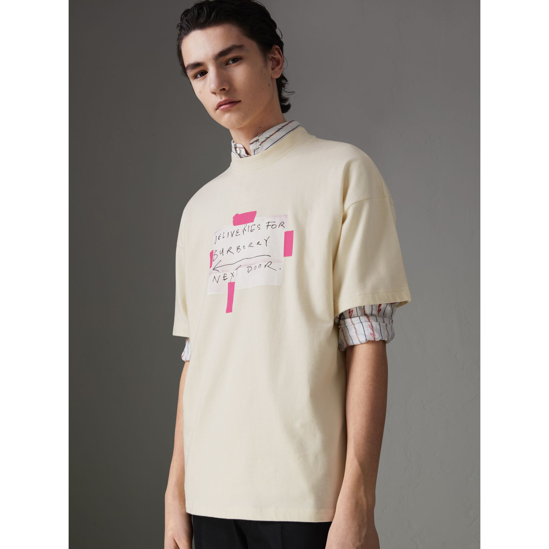 Sign Print Cotton T-shirt in Natural White - Men | Burberry - gallery image 4