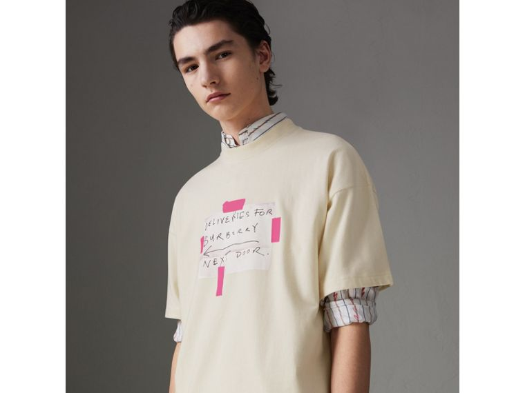 Sign Print Cotton T-shirt in Natural White - Men | Burberry - cell image 4