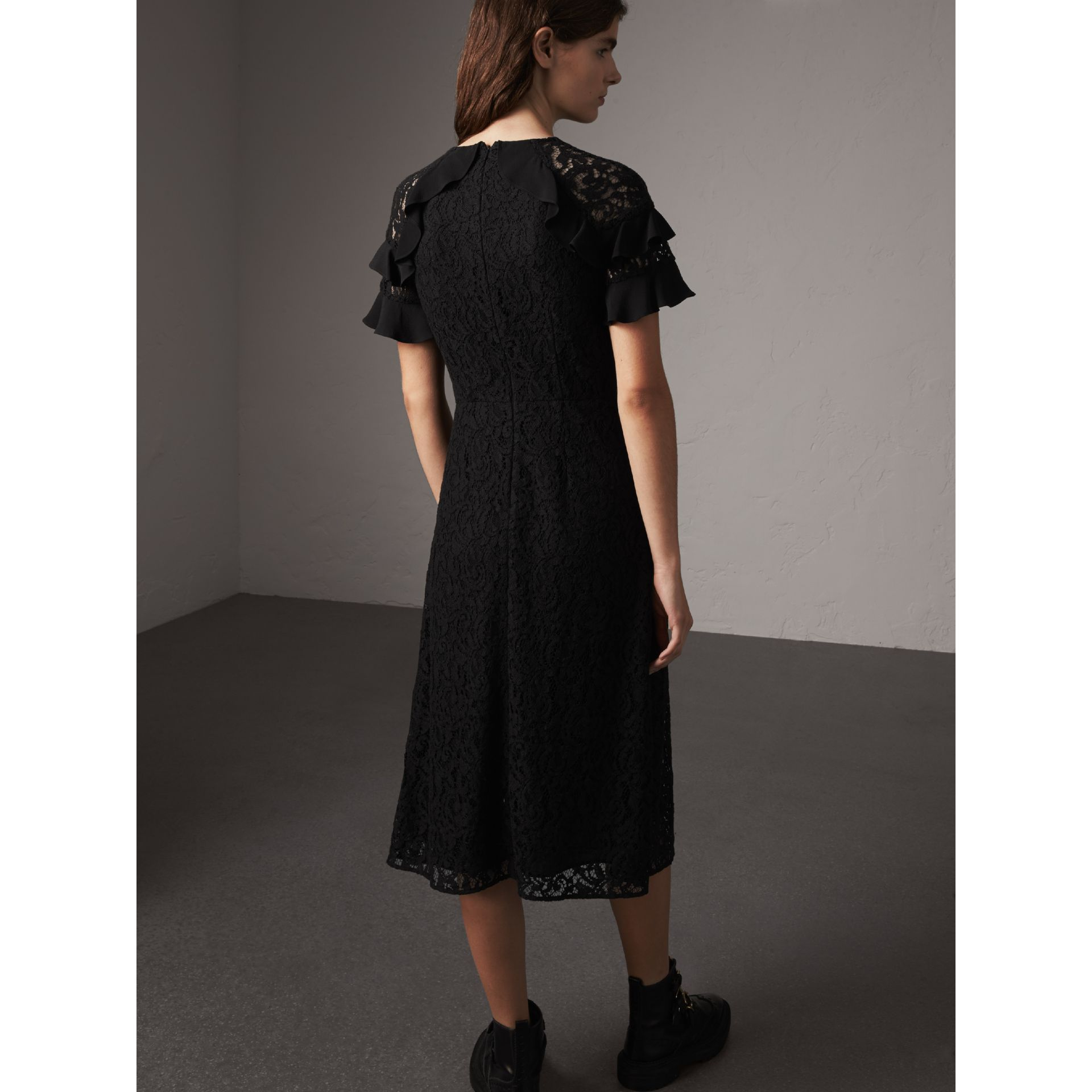 Ruffle Detail Floral Lace Dress in Black - Women | Burberry - gallery image 3