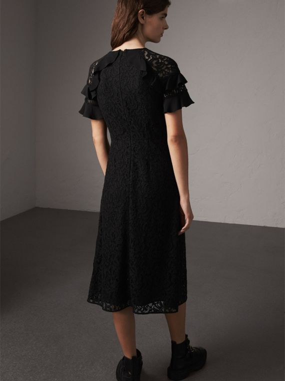 Ruffle Detail Floral Lace Dress in Black - Women | Burberry - cell image 2