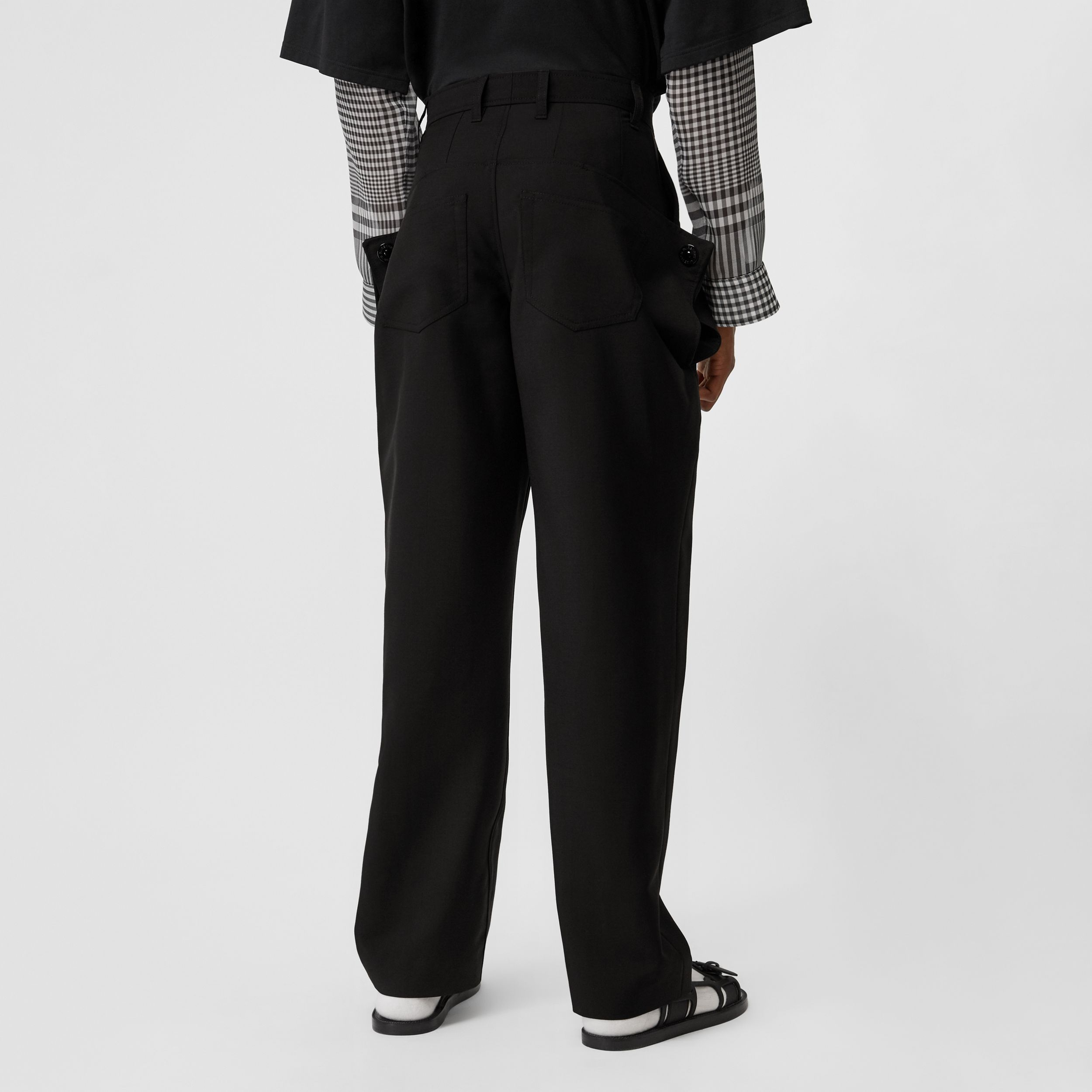 Press-stud Detail Mohair Wool Tailored Trousers in Black - Men | Burberry Singapore - 3