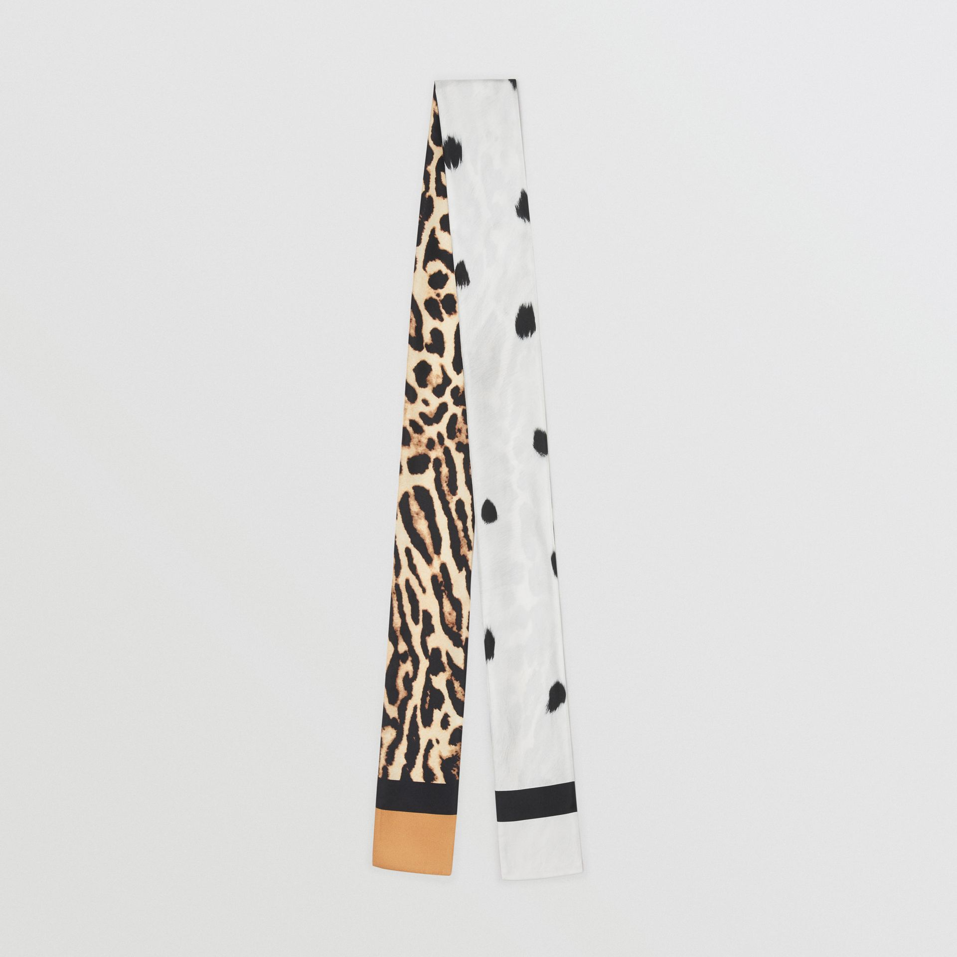 Animal Print Silk Skinny Scarf in White | Burberry - gallery image 0
