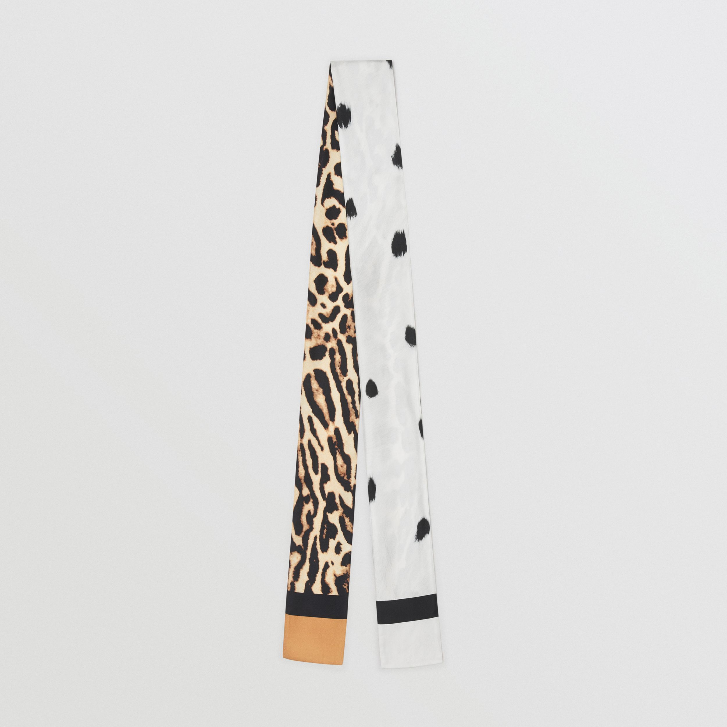Animal Print Silk Skinny Scarf in White - Women | Burberry - 1