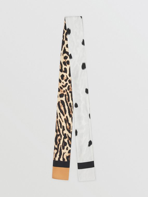 Animal Print Silk Skinny Scarf in White