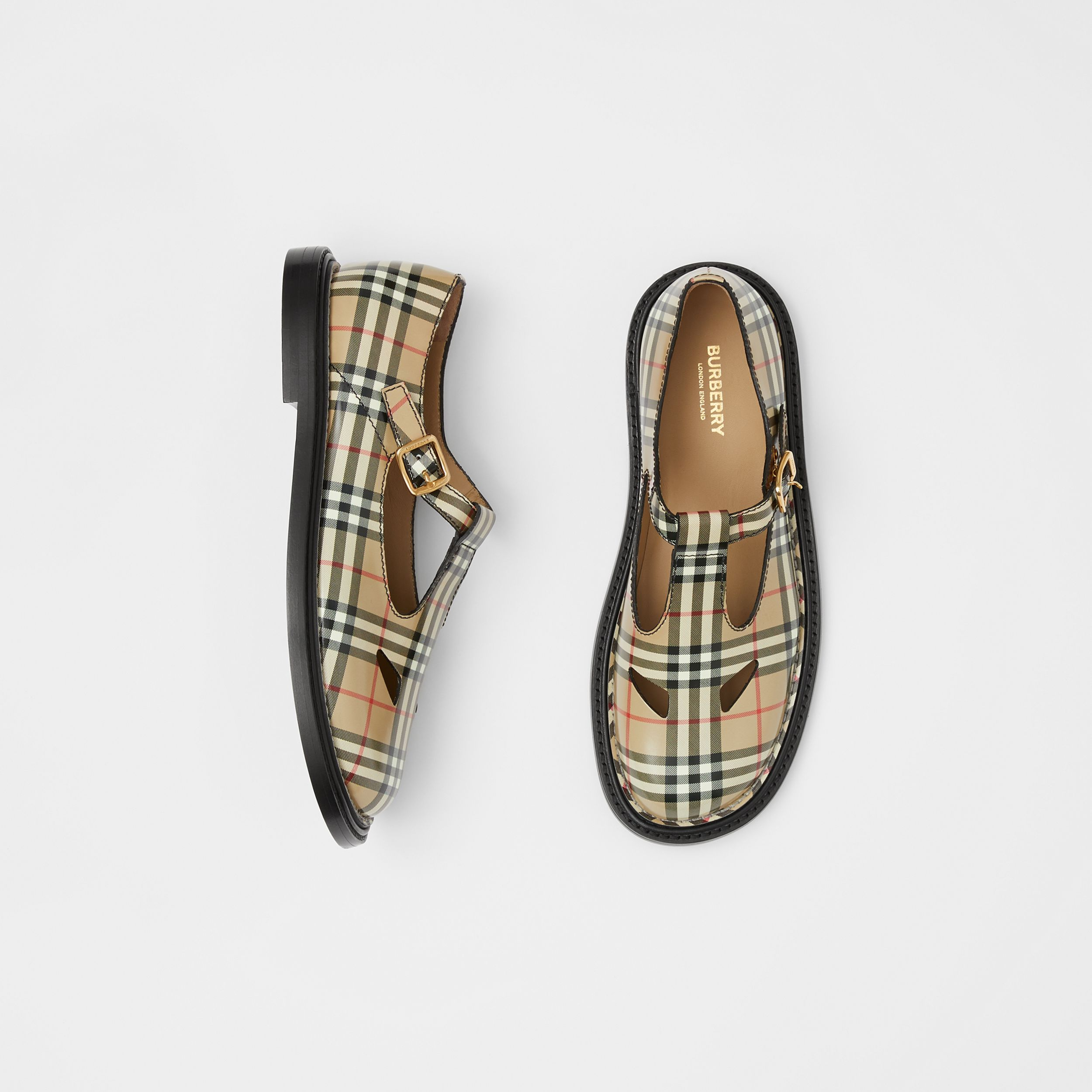 Vintage Check Leather T-bar Shoes in Archive Beige - Women | Burberry - 1