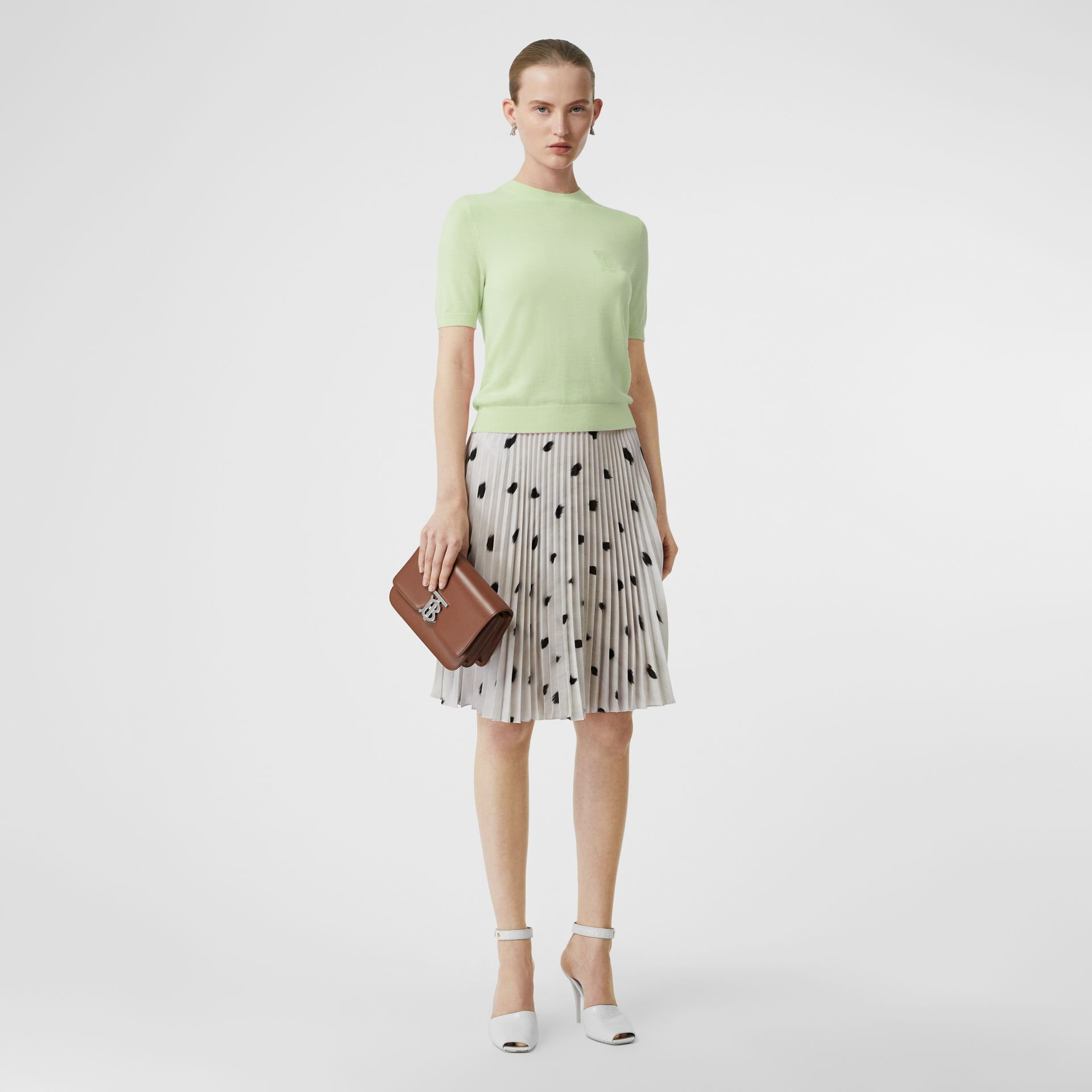 Monogram Motif Cashmere Top in Pistachio - Women | Burberry - gallery image 0