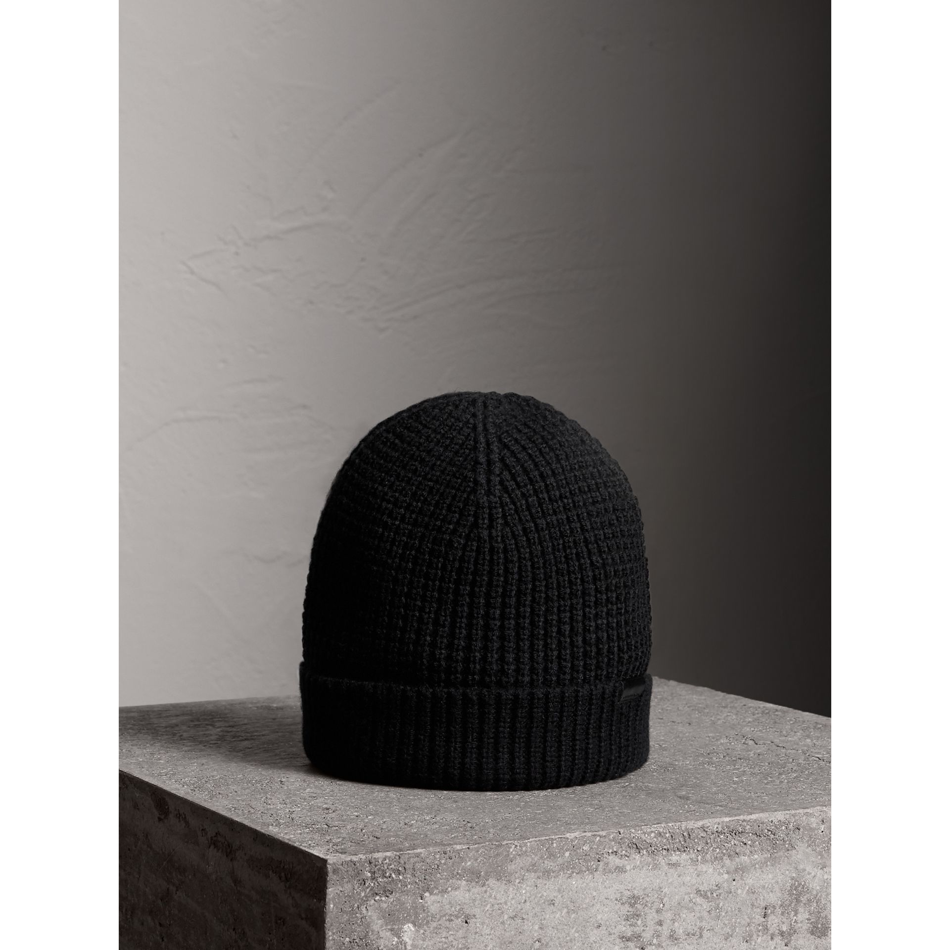Cashmere Blend Waffle Knit Beanie in Black | Burberry - gallery image 0