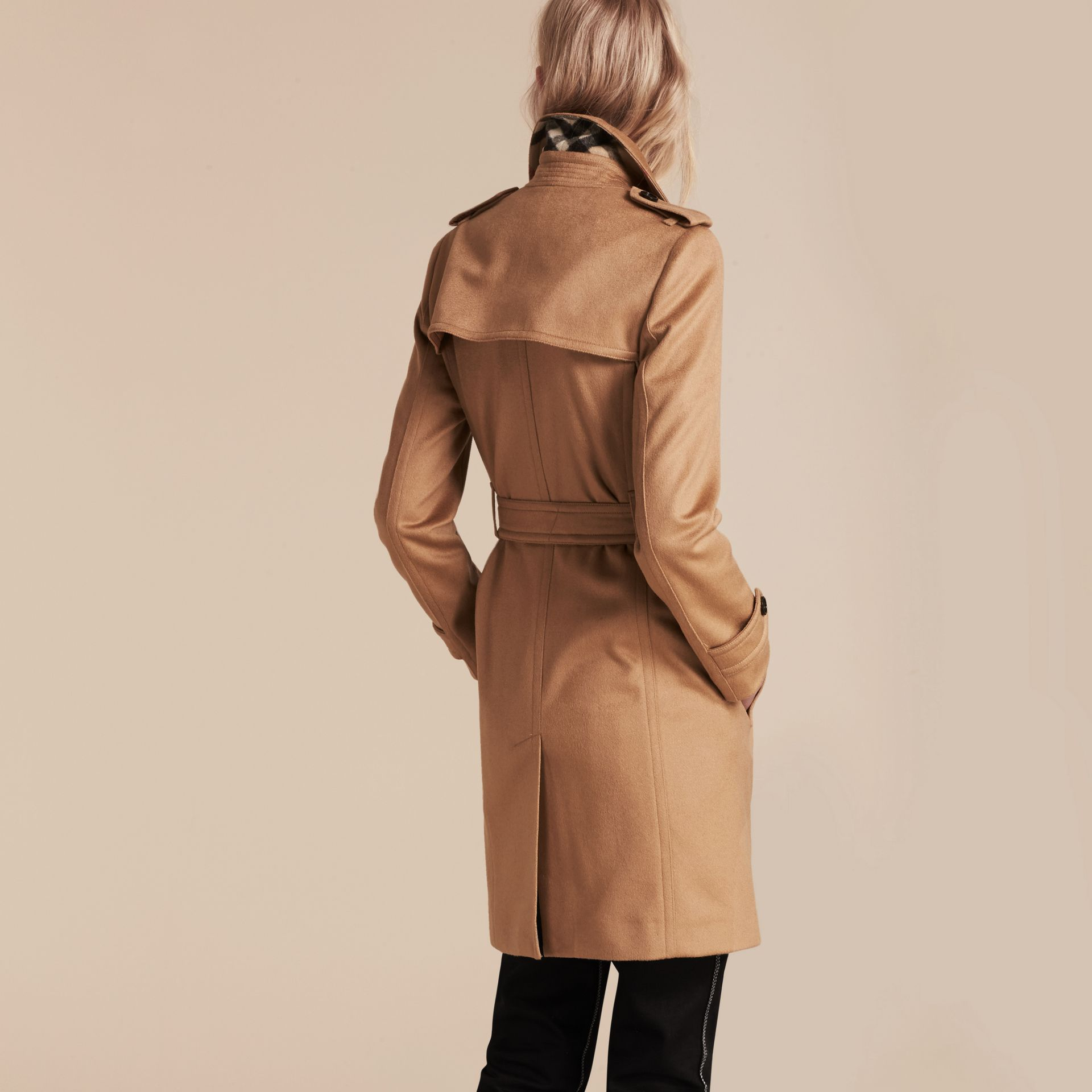 Camel Cashmere Wrap Trench Coat Camel - gallery image 3