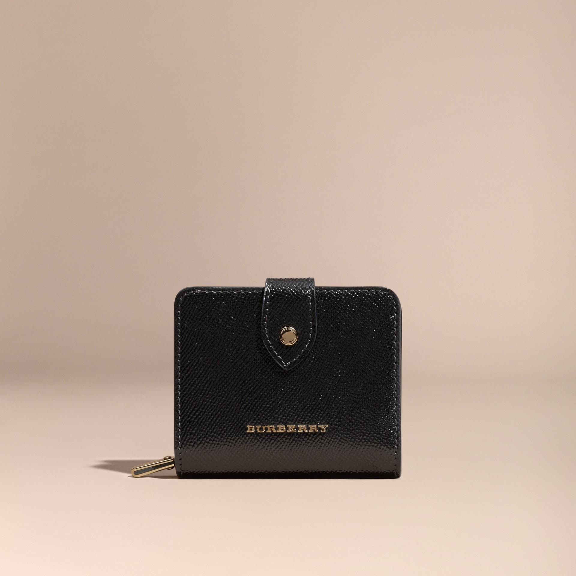 Nero Portafoglio in pelle London verniciata Nero - immagine della galleria 6