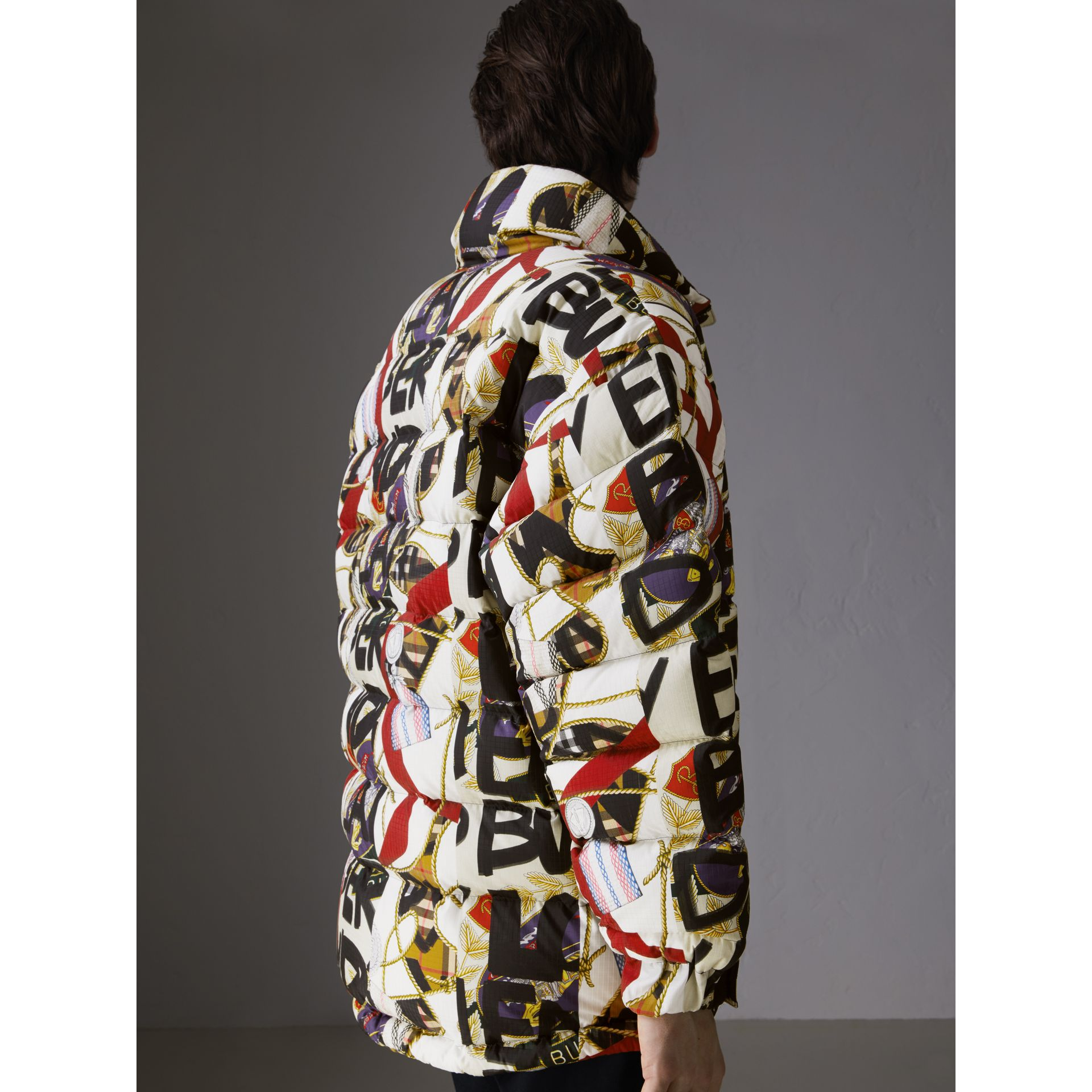 Graffiti Archive Scarf Print Down-filled Puffer Jacket in Stone - Men | Burberry United Kingdom - gallery image 2