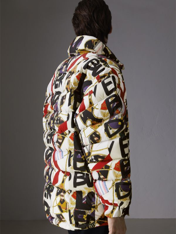 Graffiti Archive Scarf Print Down-filled Puffer Jacket in Stone - Men | Burberry United Kingdom - cell image 2
