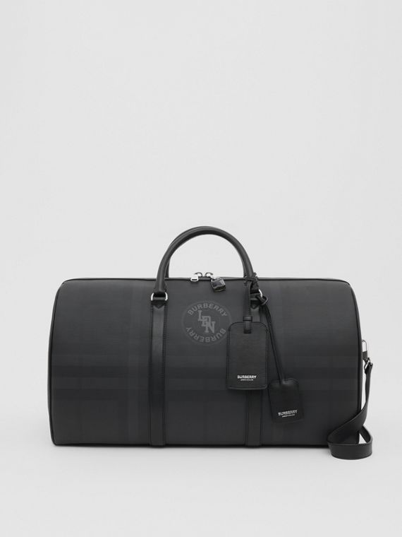 Logo Graphic London Check and Leather Holdall in Dark Charcoal