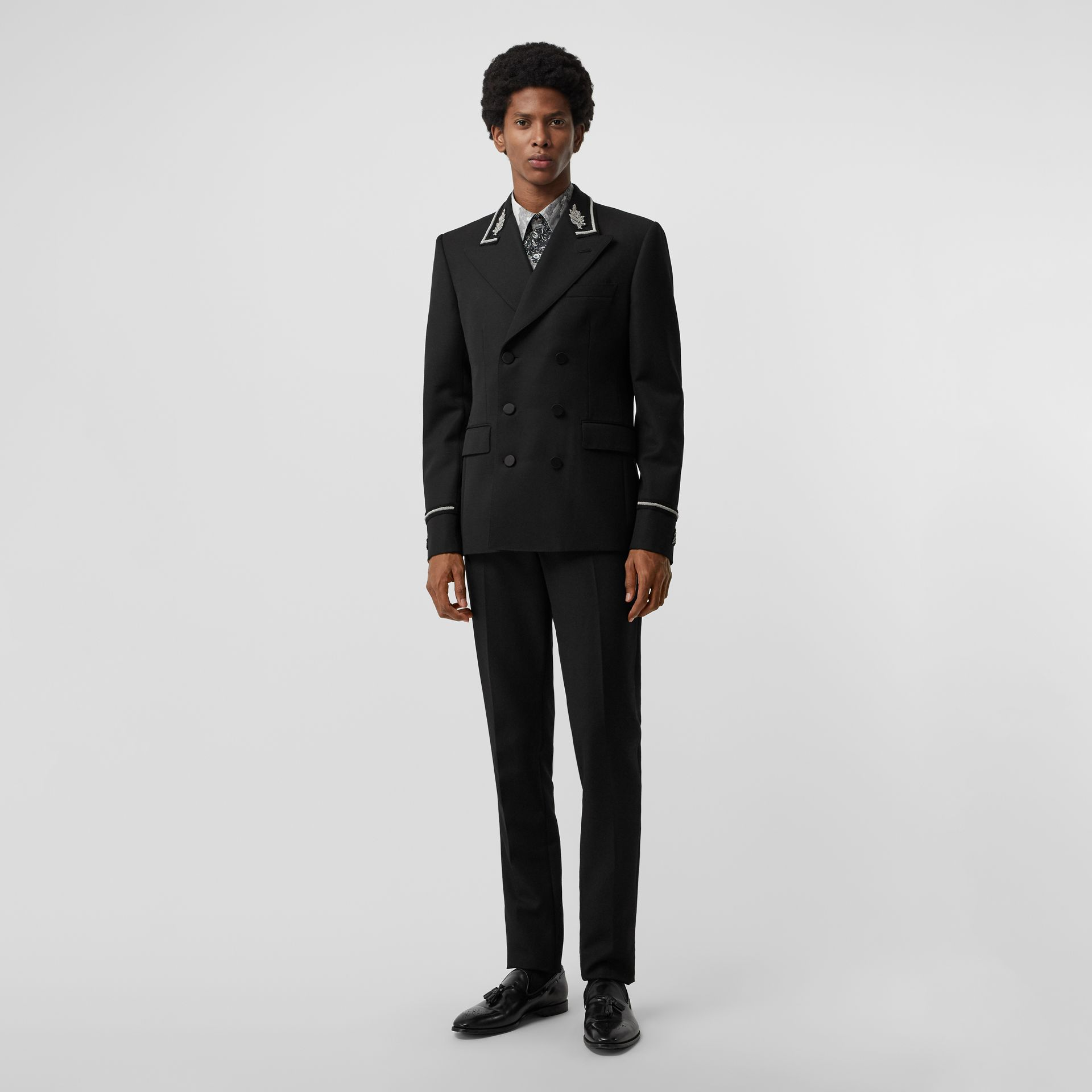 Slim Fit Bullion Wool Double-breasted Jacket in Black - Men | Burberry Singapore - gallery image 0