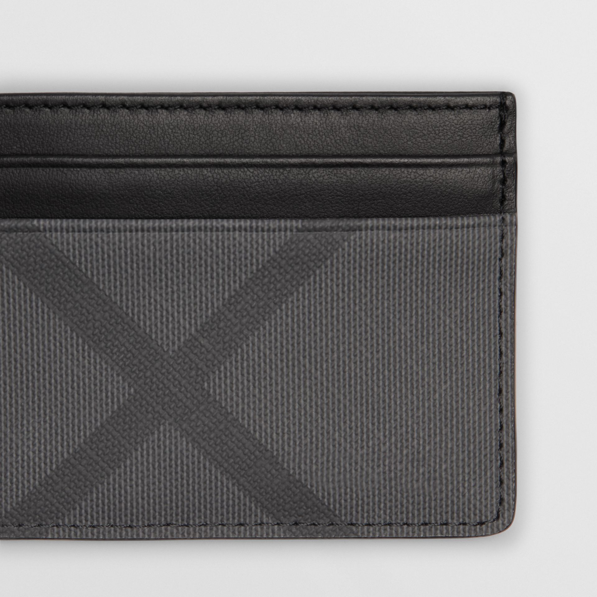 London Check and Leather Card Case in Charcoal/black - Men | Burberry - gallery image 1