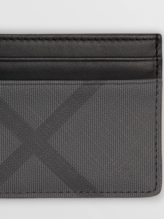 London Check and Leather Card Case in Charcoal/black - Men | Burberry Hong Kong - cell image 1
