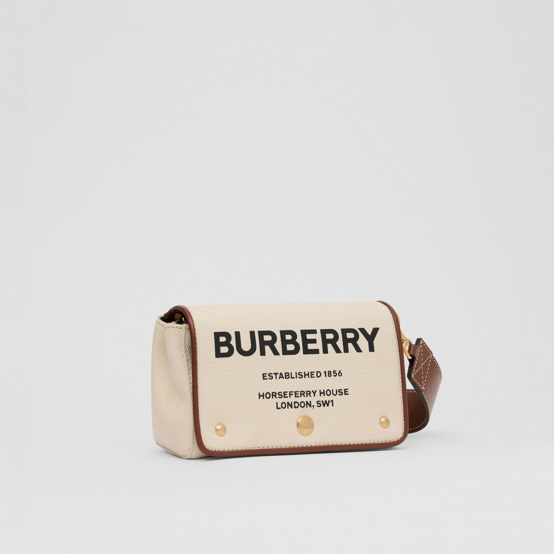 Small Horseferry Print Cotton Canvas Crossbody Bag in White/tan | Burberry - gallery image 6