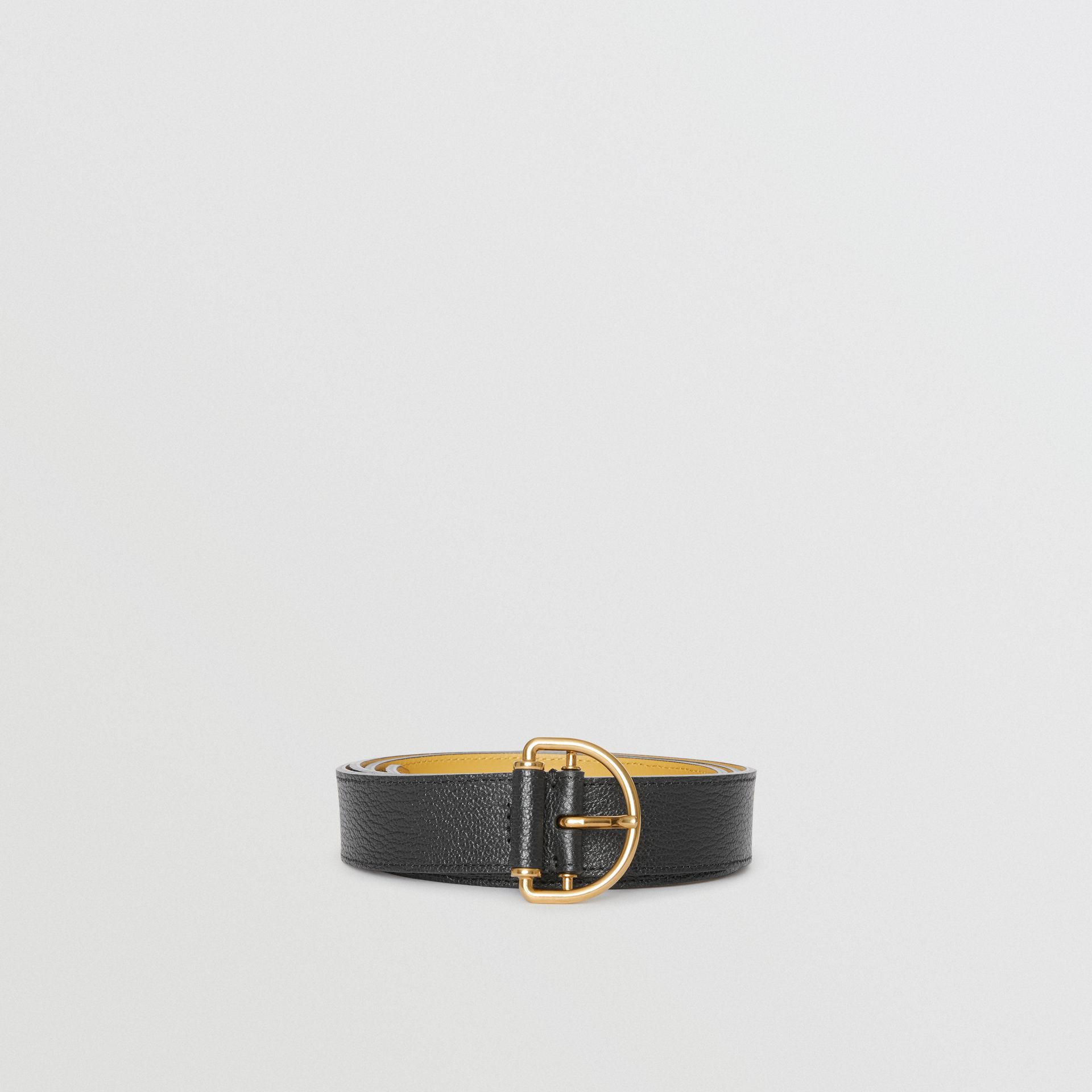 Grainy Leather D-ring Belt in Black/cornflower - Women | Burberry Australia - gallery image 3