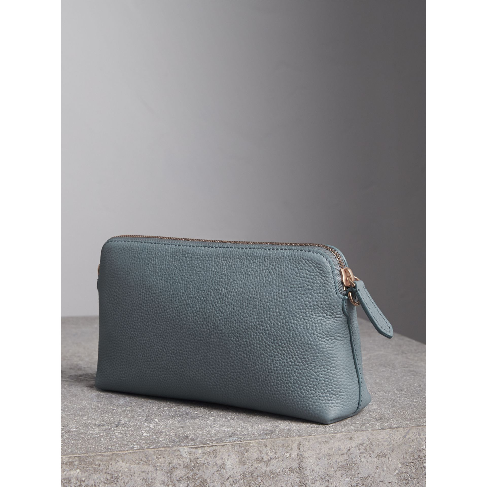 Embossed Leather Clutch Bag in Dusty Teal Blue - Women | Burberry - gallery image 5