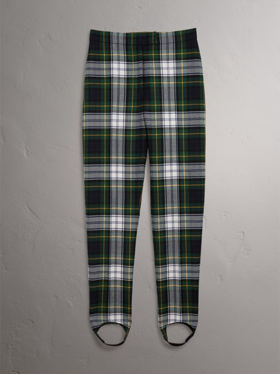 Tartan Wool High-waisted Stirrup Trousers in Ink Blue - Women | Burberry United Kingdom - cell image 3