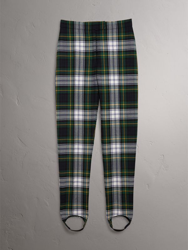 Tartan Wool High-waisted Stirrup Trousers in Ink Blue - Women | Burberry - cell image 3